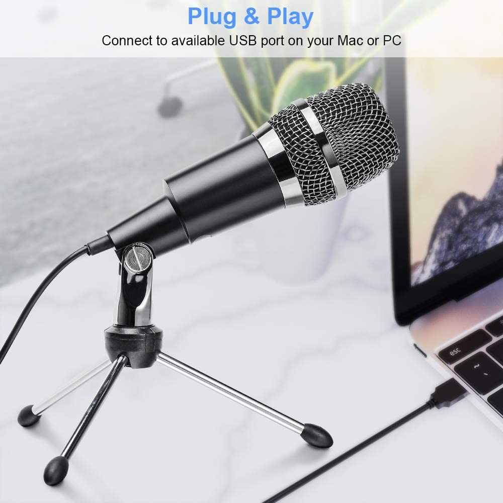 Gaming and YouTube for Laptop Mac or Windows for Skype Broadcasting Plug /& Play Ankuka USB Microphone PC Condenser Recording Microphone with Tripod Stand Studio Recording