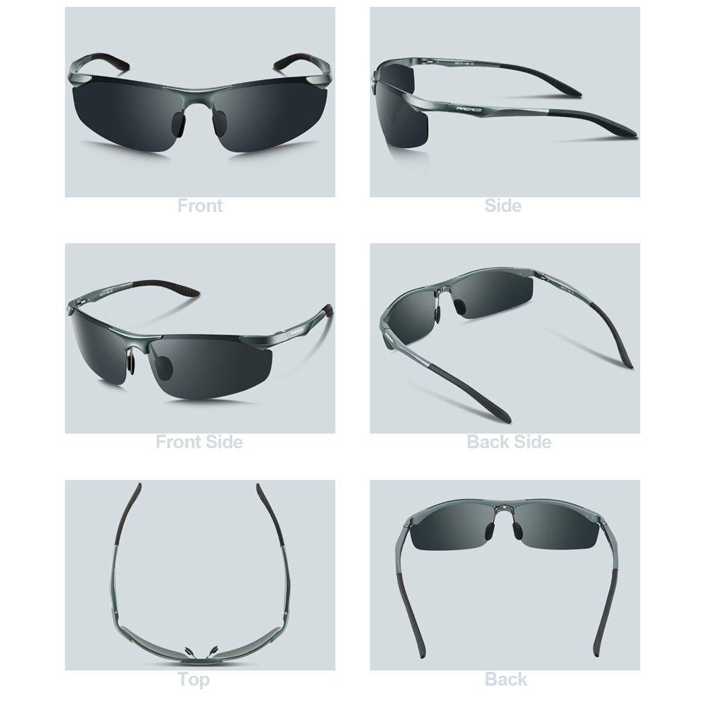 PAERDE Herren Sport Stil Polarisierte Sonnenbrille Metallrahmen Brille PA30 8179 (Silber/Licht) 4FsX8