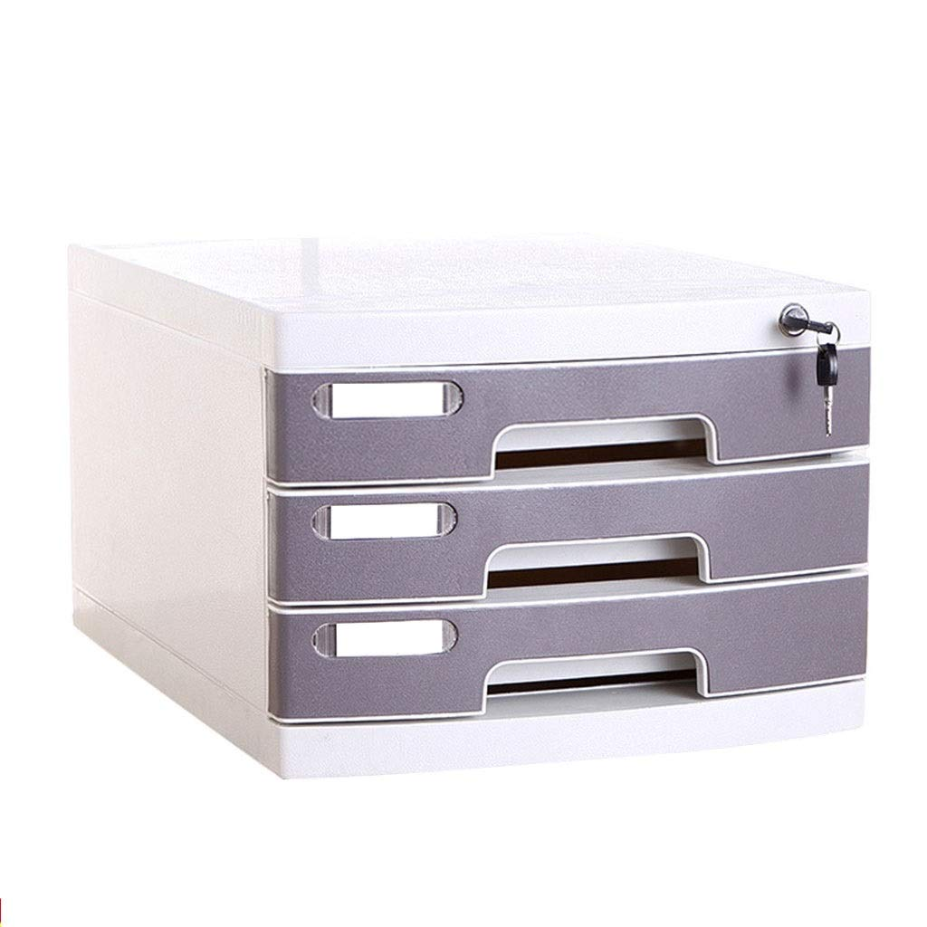File Cabinets Filing cabinets for Home 3 Drawers with Lock Desktop Office Storage Storage Box 29.5X39.4X21.8cm Home Office Furniture (Color : Gray) by File Cabinets