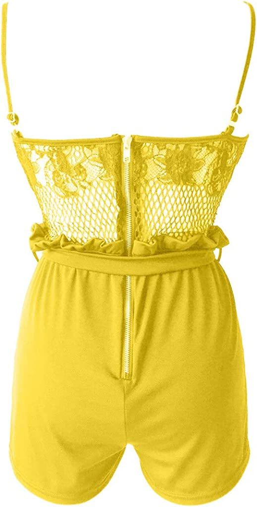 Zerototens Womens Sleeveless Jumpsuit Camisole Tank Rompers Summer Short Casual Spaghetti Strap Mesh Lace Jumpsuits Backless Playsuit with Belt