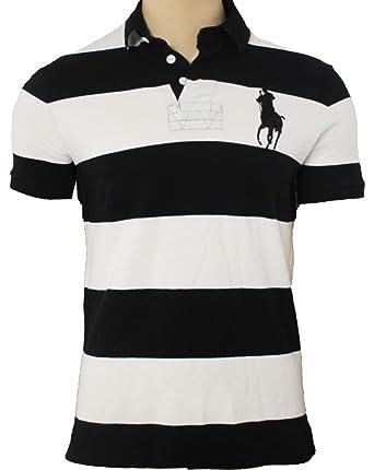 e40f30399b86 Polo Ralph Lauren Men s Custom Fit Short Sleeve Polo Shirt Big Pony Striped  D68AM