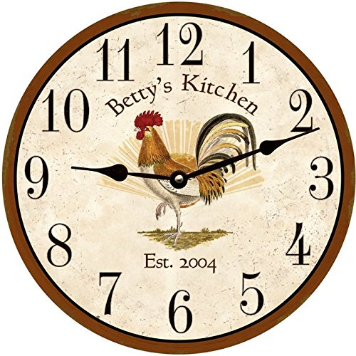 Personalized Rooster Clock by Time Flies Clocks