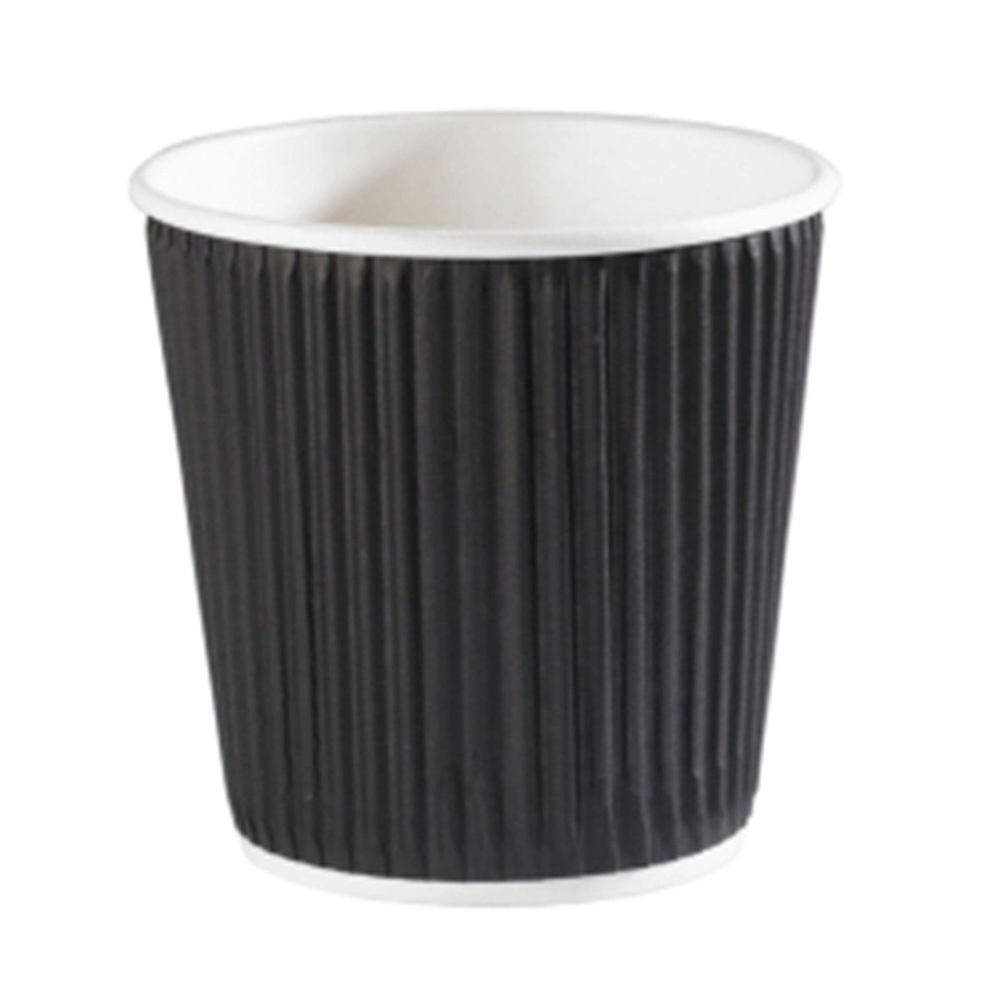 UK MANUFACTURER 50 x 8oz BLACK 3-PLY RIPPLE PAPER COFFEE CUPS