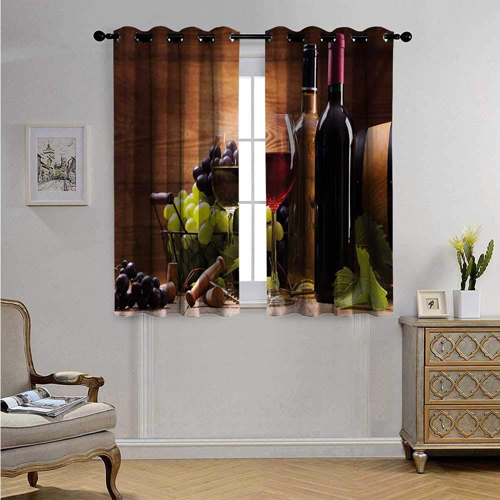 Wine Decorative Curtains for Living Room Glasses of Red and White Wine Served with Grapes French Gourmet Tasting Blackout Drapes W63 x L72(160cm x 183cm) Brown Ruby Pale Green