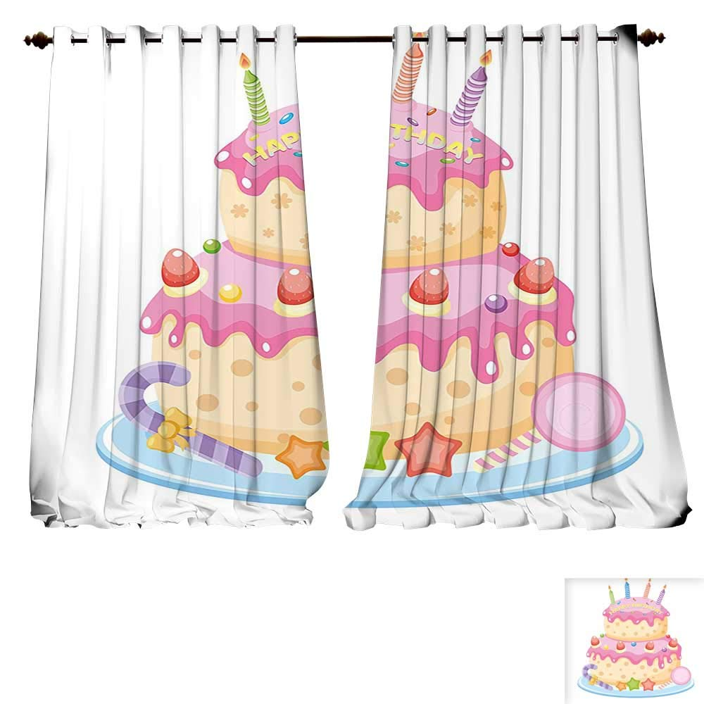 Thermal Insulating Blackout Curtain Birthday ations for Kids Pastel Colored Birthday Party Cake with Candles and Candies Light Pink Patterned Drape For Glass Door (W107 x L107 -Inch 2 Panels)