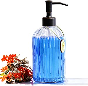 Glass Soap Dispenser Refillable Wash Hand Liquid, Dish Detergent, Shampoo Lotion Bottle with Oil Rubbed Bronze Pump Holder, Ideal for Bathroom Countertop, Kitchen, Laundry Room 18ounce