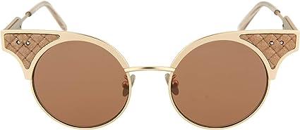 Bottega Veneta BV0141S 001 Black Metal Round Sunglasses Grey Lens
