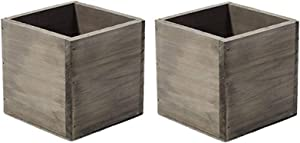 """4"""" Square Rustic Wood Planters with Plastic Liner - Set of 2"""