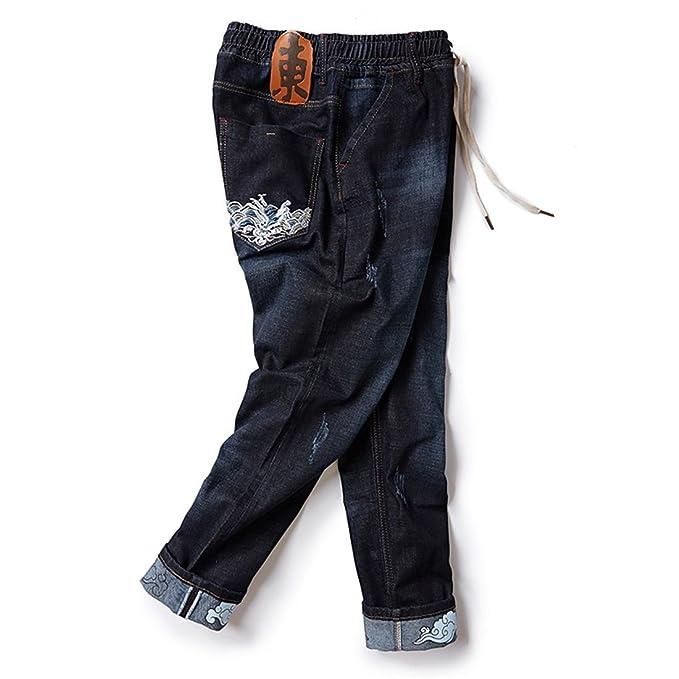 Stazsx Pantalones Vaqueros gordos Bordados Flojos de los ...