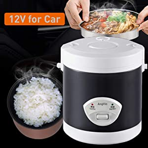 [Removable Pot] 12v rice cooker for car 1.6L, AngVin Electric Lunch Box, Travel Rice Cooker Small, Removable Non-stick Pot, Cooking, Heating, Keeping warm,for Cooking Soup, Rice, Stews, Grains & Oatmeal (Black)