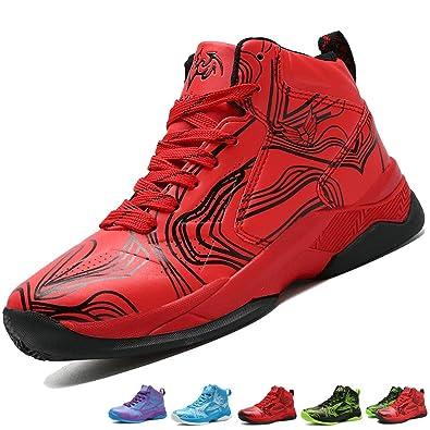 ff6ae12a29dbe LANSEYAOJI Enfant Chaussure de Basket-Ball pour Garçons Classique High-Top  Sneakers Étudiant Outdoor