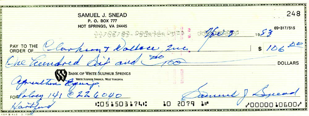 Sam Snead Signed Auto 3x8.5 Check #248 Certified Authentic