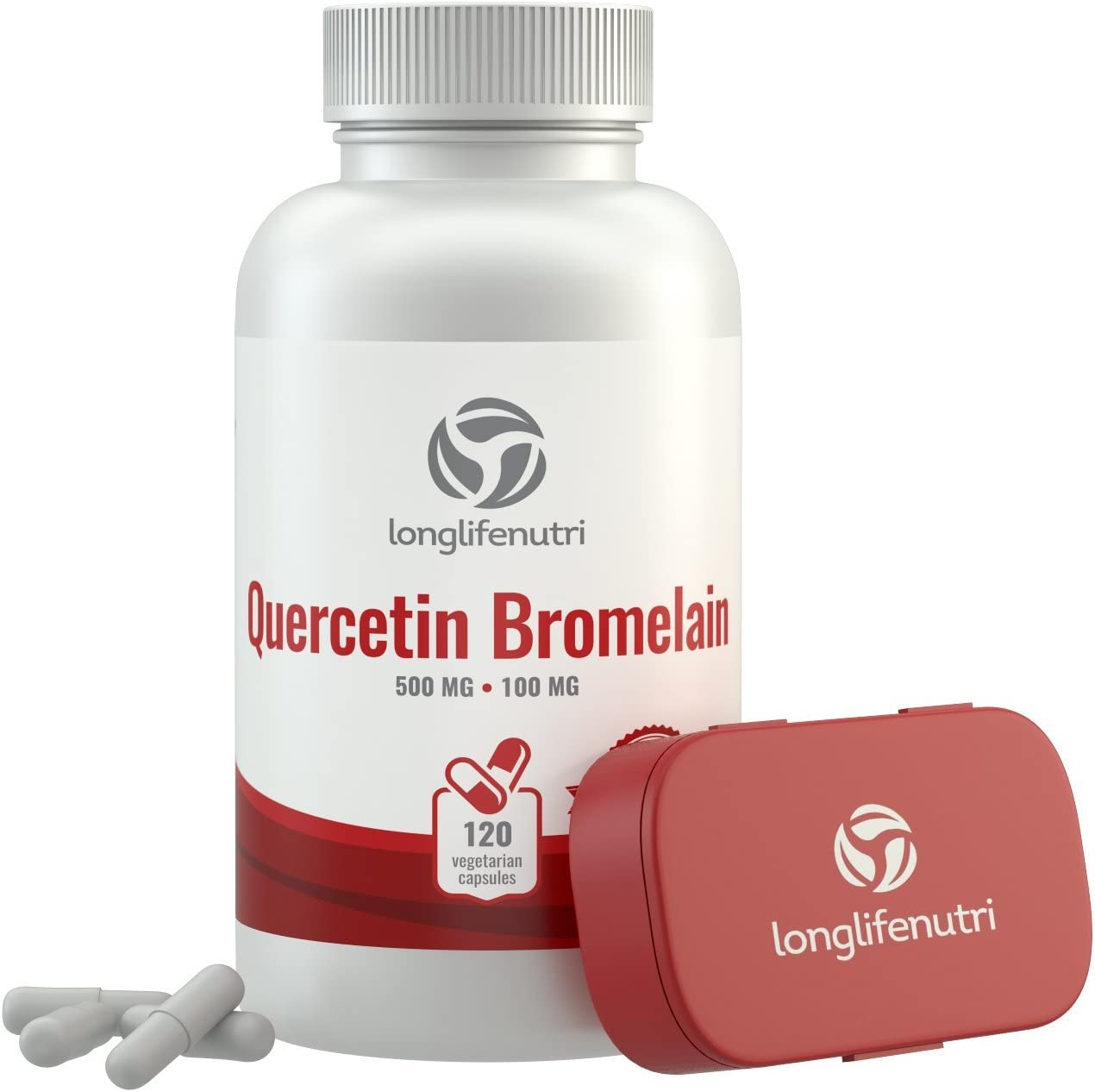 Quercetin 500mg with Bromelain 100mg 120 Vegetarian Capsules | Natural Anti Inflammatory Antioxidant Supplement | Allergy Relief Complex | Heart Health | Dihydrate Pure Powder Extract Cap 500 mg Plus: Health & Personal Care