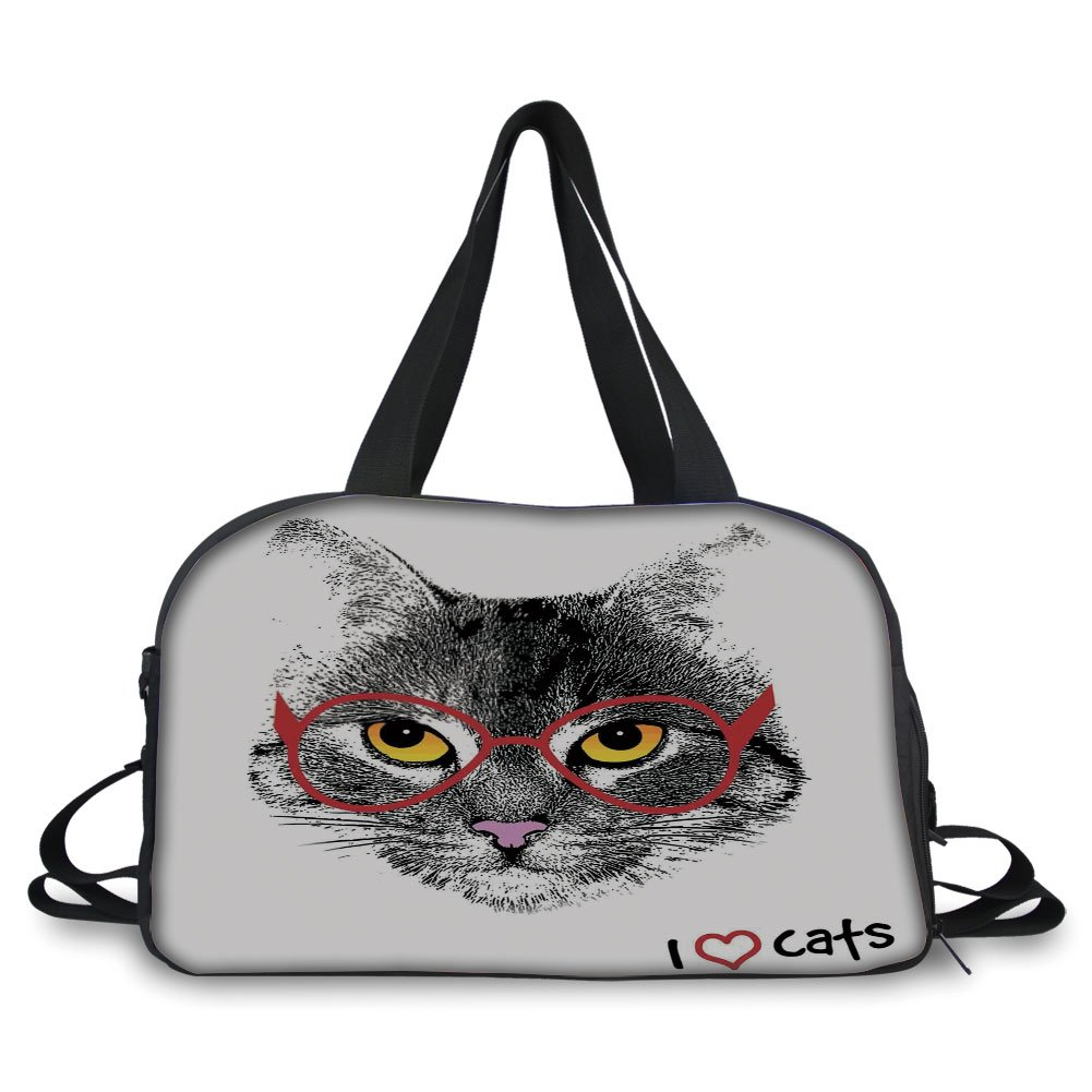 iPrint Travelling bag,Cat Lover Decor,Wise Nerd Cat with Glasses Judging the World Humor Digital Style Art Illustration,Black White Red ,Personalized