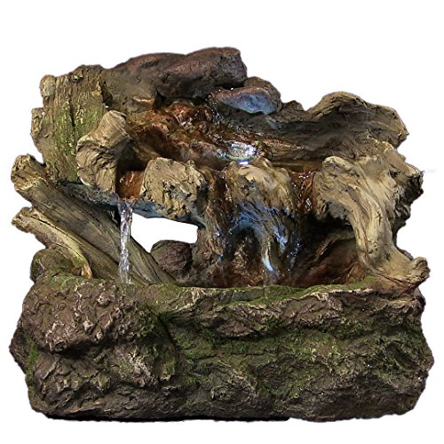 Sunnydaze Aged Tree Trunk Tabletop Fountain with LED Lights, 10.5 Inch Tall