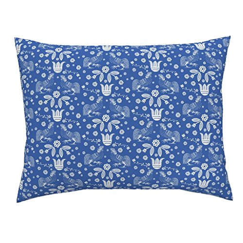Rooster Toile Pillow - Roostery Toile Euro Knife Edge Pillow Sham Barnyard Toile Blue by Keweenawchris Natural Cotton Sateen made by