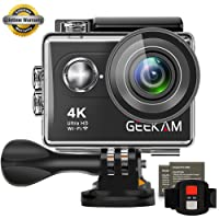 GeeKam Digital Video Action Camera 4K Ultra HD WIFI Underwater Waterproof Sports Cam Camcorder 170 Degree Wide Angle Remote Control and 2 Rechargeable 1050mAh Batteries with Accessories Kit (S9R)