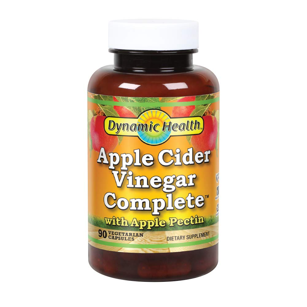 Dynamic Health Apple Cider Vinegar Complete with Apple Pectin | Vegetarian, No Gluten or Artificial Ingredients | 90 Vegetarian Capsules