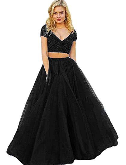 The Peachess Women Prom Dresses Long Formal Evening Gown Two Piece Party Dress V Neck