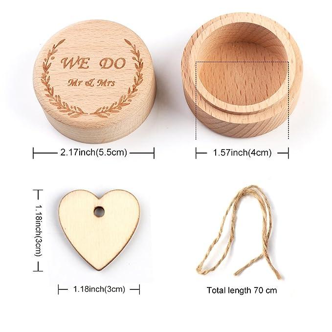 AerWo - Caja de madera para anillos de boda, diseño rústico, ideal para novias y novios: Amazon.es: Hogar