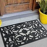 FH Group Indoor/Outdoor Black Floor Doormats, DM003