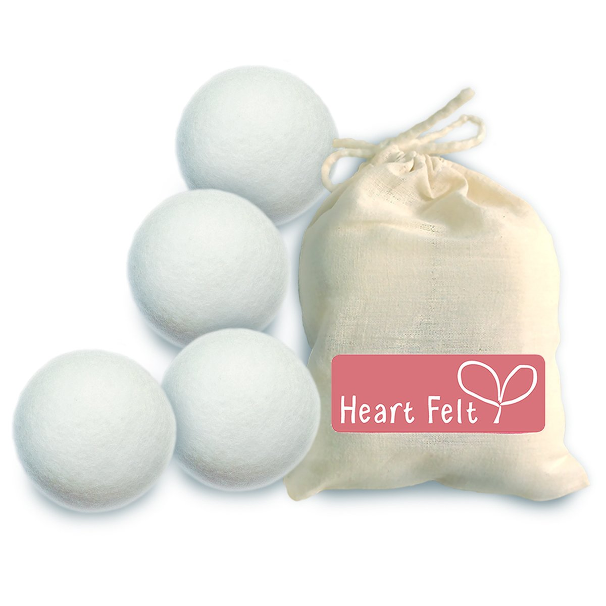 Heart Felt Wool Dryer Balls (4 Pack XL) Pure New Zealand Wool, No Cheap Fillers, Natural Reusable Non-Toxic Fabric Softener, Reduces Drying Time