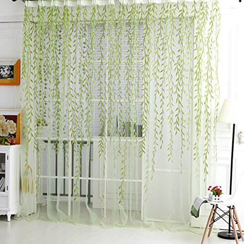 Academyus Room Decor Curtain Sheer Panel Drapes Home Tree Glass Yarn Willow Curtain Tulle (Green 100cm x 200cm)