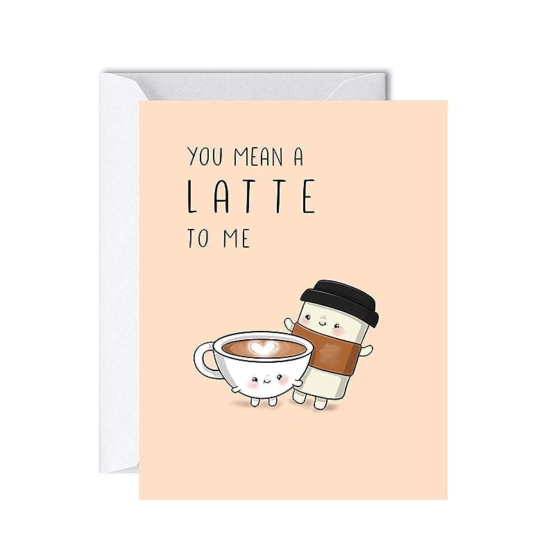 Girlfriend #50 Wife Funny Birthday Card Husband Kraft envelope Coffee Lovers I Love you more than pumpkin spice latte Boyfriend