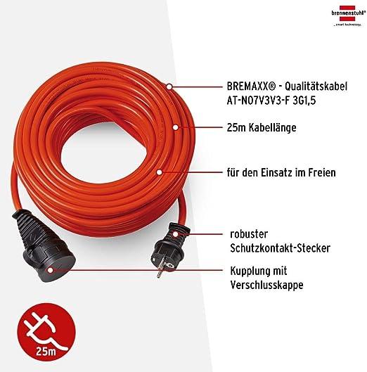 Brennenstuhl Bremaxx Verlängerungskabel 25m Kabel In Orange Für Den Einsatz Im Außenbereich Ip44 Einsetzbar Bis 35 C öl Und Uv Beständig Baumarkt