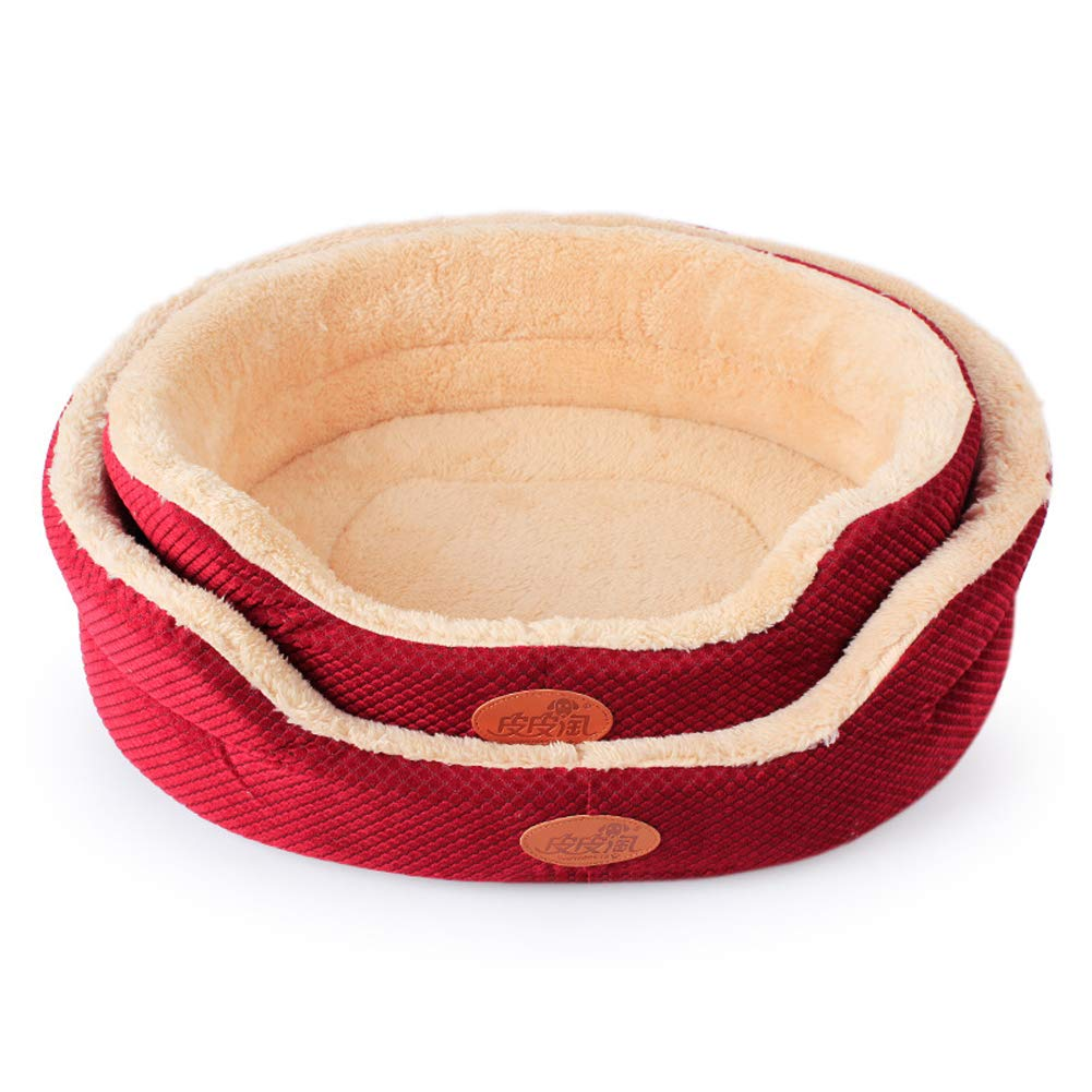 Red Cotton Velvet Two-Piece Pet Nest Pet Supplies Small Dog Bed Litter House Kennel