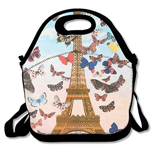 QIAOWZFUN Paris Eiffel Tower Tour Colorful Butterfly Lunch Bag Handbag Lunch Box Container Lunch Bag For Women Or Men Work