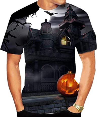 Halloween Casual Manga Corta Verano 3D ImpresióN Digital ...
