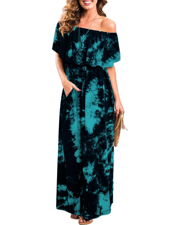 Womens Off The Shoulder Ruffle Party Dresses Tie Dye Split Maxi Long Dress (S, Cyan Black)