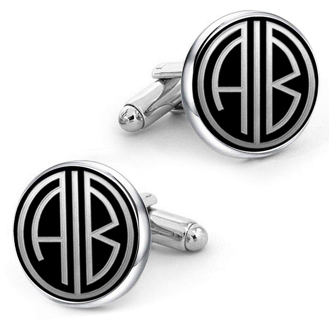 Kooer Personalized Gatsby Style Monogram Initials Cuff Links Custom Wedding Cufflinks Gift for Men Father Dad Husband Boy Friend Groom Groomsman