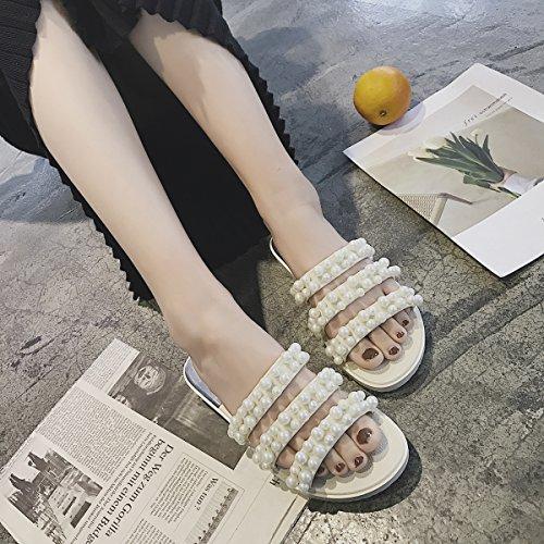 quality design f908f 09d0e ... Cher Temps Femmes Pvc Perle Pantoufle Sandales Dété Gelée Plate-forme Chaussures  Blanc