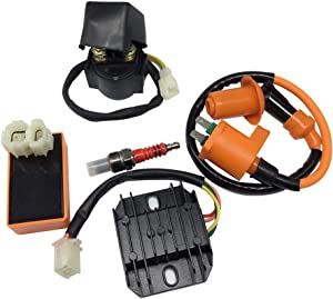 Hity Motor High Performance Racing 6 Pin AC CDI Ignition Coil Voltage Regulator Rectifier Solenoid Relay for GY6 50cc 125cc 150cc ATV Quad Go Kart Moped