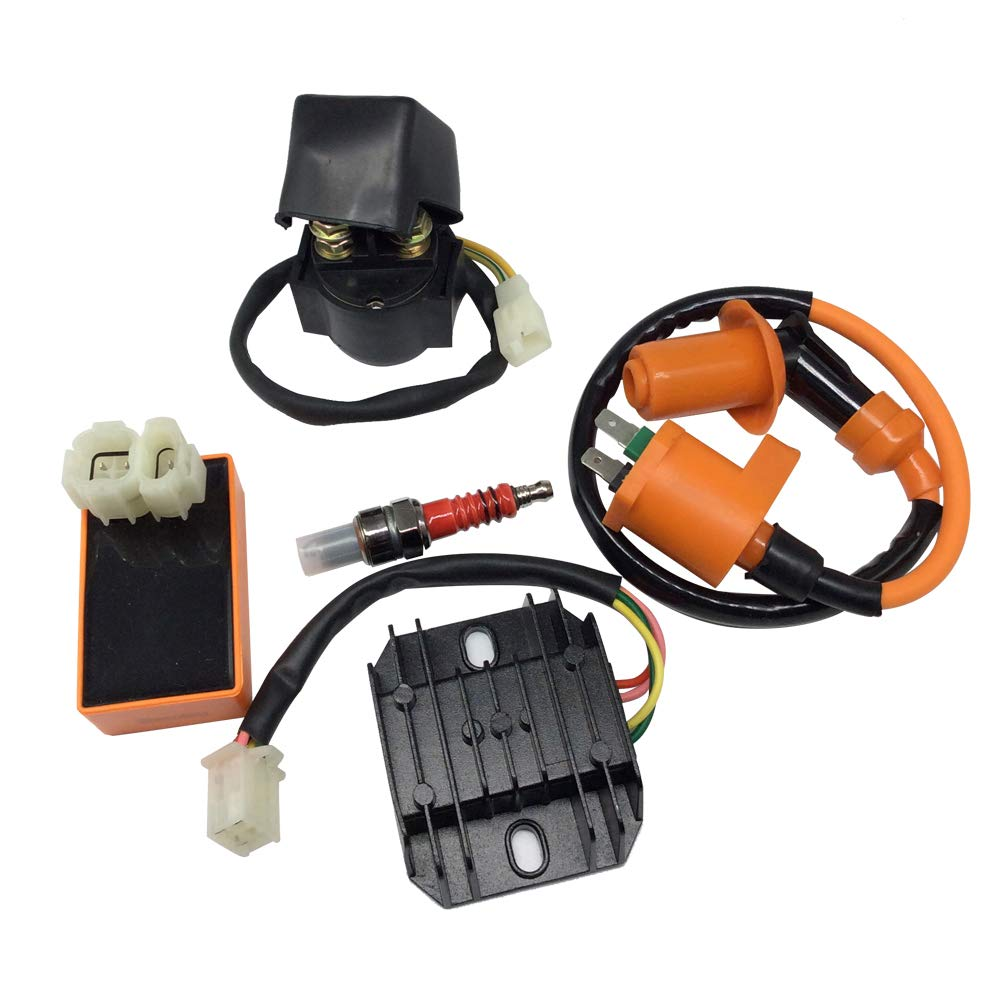 Hity Motor High Performance Racing 6 Pin AC CDI Ignition Coil Voltage Regulator Rectifier Solenoid Relay for GY6 50cc 125cc 150cc ATV Quad Go Kart Moped by Hity Motor