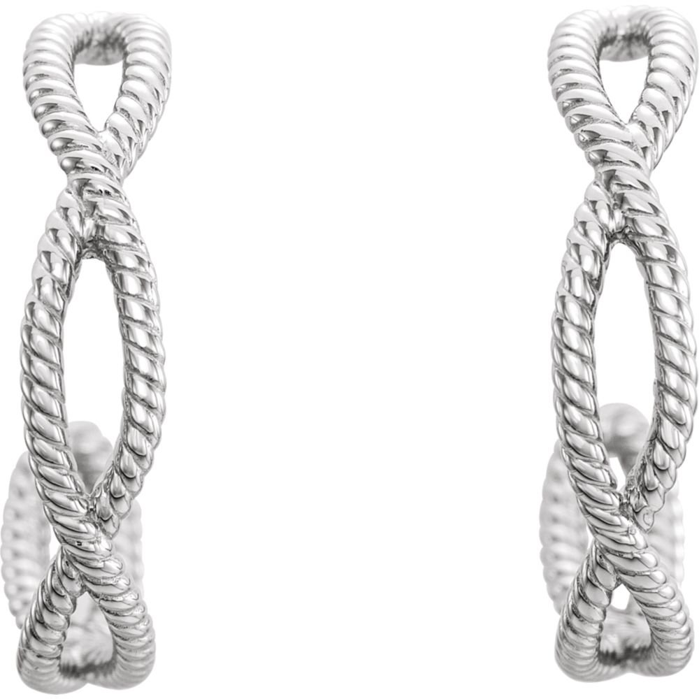 Jewels By Lux 925 Sterling Silver 20X4 mm Pair 19mm Rope Earrings With Backs