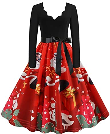 Donne Natale Stampato A-Line Mini Vestito da Swing Vintage Abito da Ragazze Sera Festa Gonne A Vita Alta Abiti da Principessa Regalo di Natale Vestiti Donna Elegante