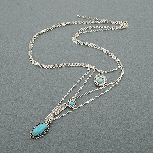 Long Way Vintage Multilayer Feather Flower Turquoise Pendant Necklace Long Coat Women's Chain (Antique Silver Plated) by Long Way (Image #3)