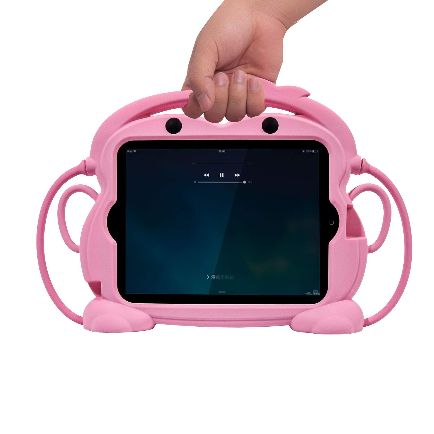 CHIN FAI iPad 2 3 4 Case for Kids, Child Proof Silicone Protective Car Case Cute Monkey Handle Stand Cover for Apple iPad 2nd 3rd 4th Generation (Pink)