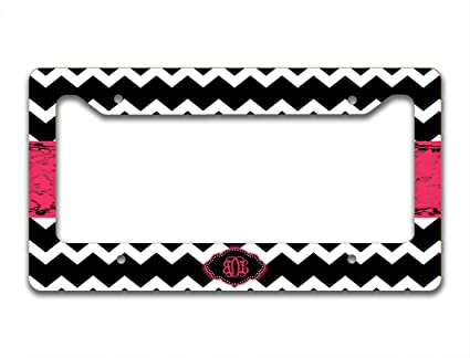 Amazon.com: Monogram customized license plate frame - Black and ...