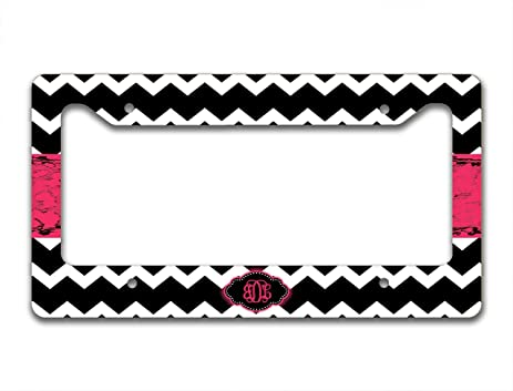 monogram customized license plate frame black and white chevron with hot pink monogrammed car - Monogram License Plate Frame