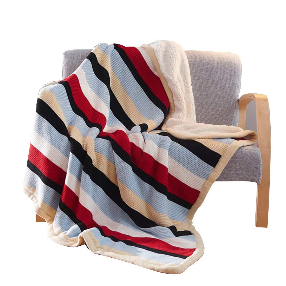 毛布、スローフルソフトブランケット 厚い毛布 暖かいシート 暖かい毛布スティーンニットラムベルベットウォッシャブルブランケットとベッド 冬毛布,stripe B_150*200cm B07K79B8MZ stripe B 150*200cm