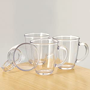 City Point 4 pcs 14 OZ OZ Crystal clear Plastic Coffee Mug, Break-Resistant Commercial Plastic Party Juice Cups, Picnic Drinking Cup