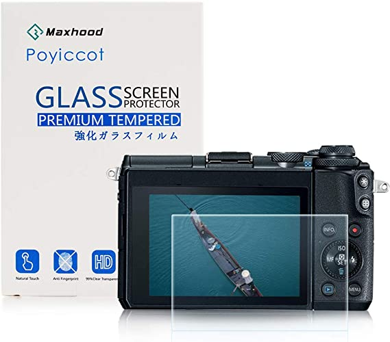 AFUNTA Screen Protectors for Canon EOS M6 2 Pack Anti-scratch Tempered Glass Protective Films for DSLR Digital Camera