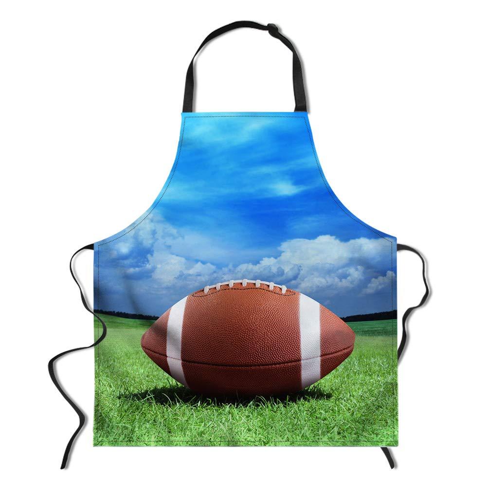 WHEREISART Sports Apron, American Football Rugby on Fire Water Flame Splashing Thunder Creative Art, Unisex Kitchen Bib Apron Adjustable Neck Cooking Baking Gardening, Dark Blue Orange