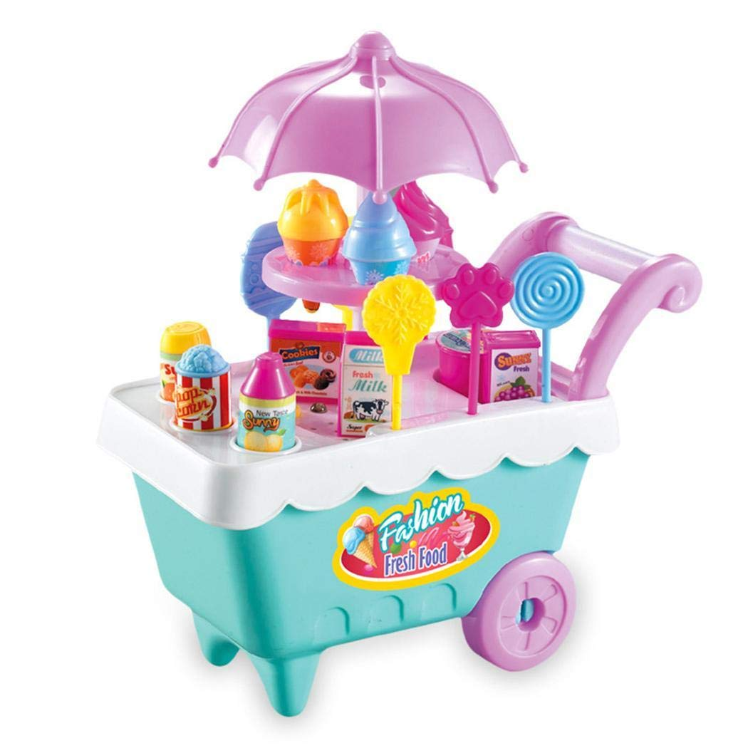Zouvo 19Pcs Kids Rotating Ice Cream Candy Pretend Play Food Supermarket Trolley Toys