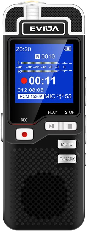 EVIDA Voice Recorder for Lectures Rechargeable - Digital Voice Activated Recorder Portable Tape Recorder Dictaphone Recording Device with Playback,Mp3,Variable Speed