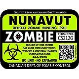 "ProSticker 1313 (One) 7.6cm x 10.1cm Zombie Series ""Nunavut"" Hunting License Permit Decal Stickers"